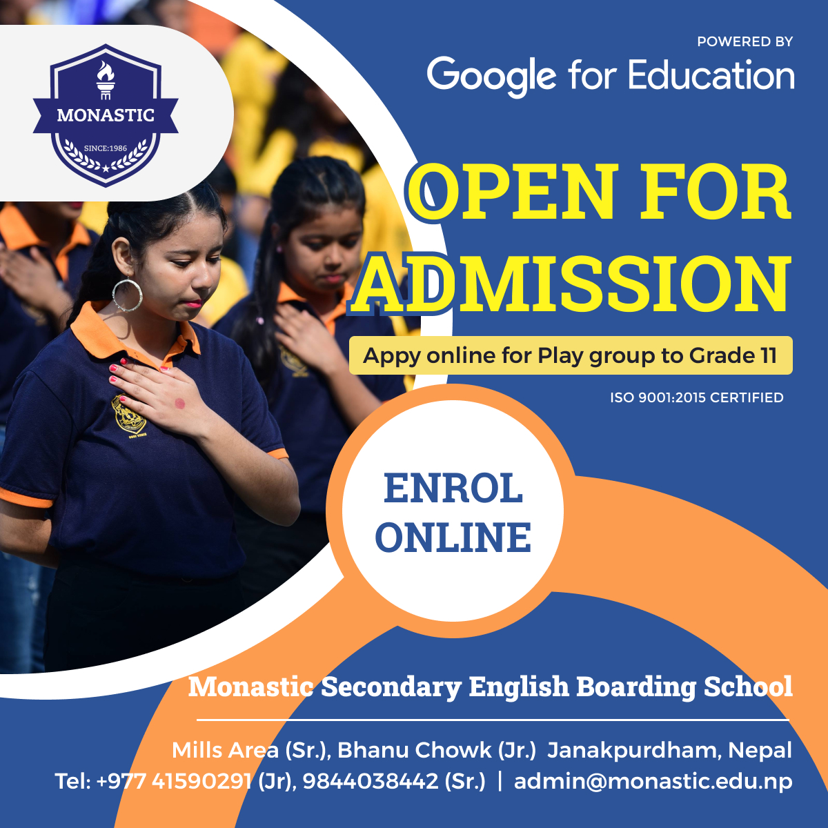 Admission open at Monastic